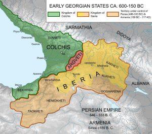 نقشه پادشاهی ایبریا و پادشاهی کولخیس
